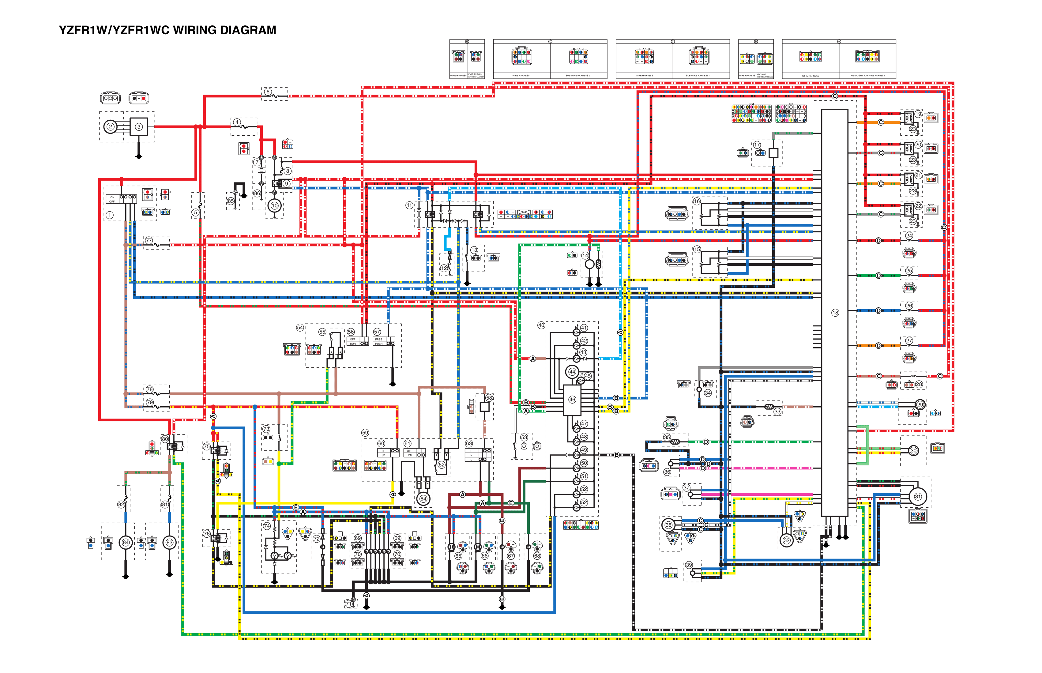 Complete Electrical Wiring Diagram Of Yamaha Yzfr1 Circuit Wiring