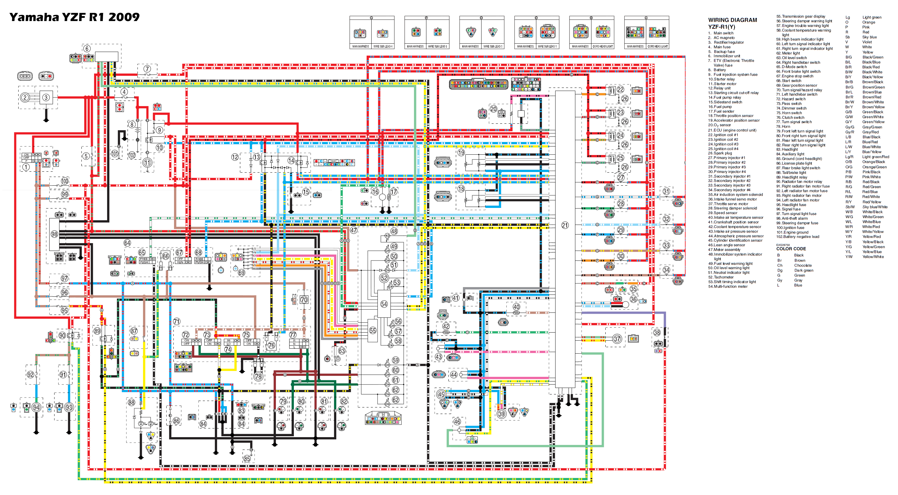 r1_2009_wiring Yamaha R Wiring Harness Diagram on