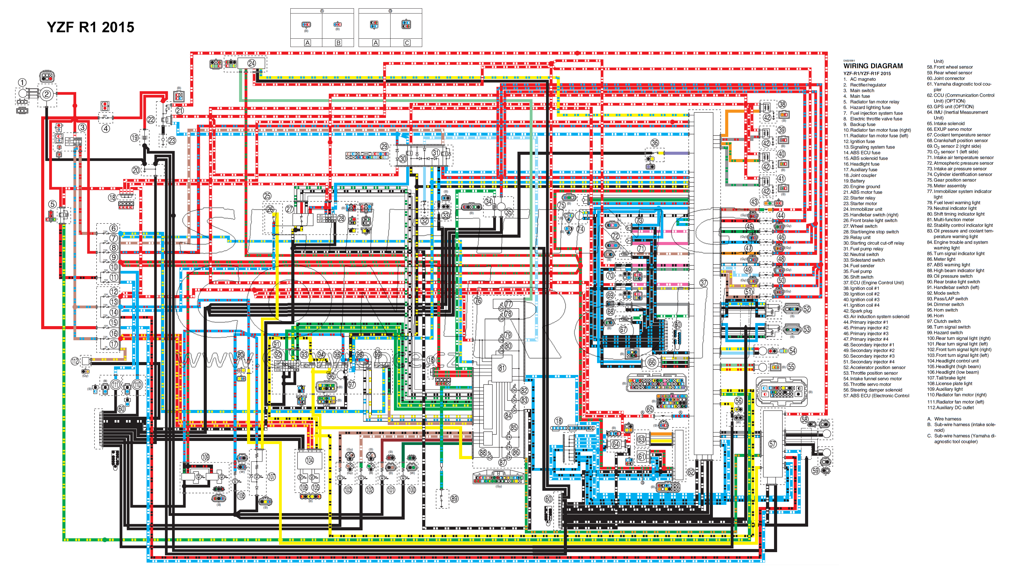 yzf r1 wire diagram online schematics diagram rh delvato co yamaha r1  wiring diagram 2000 yamaha r1 wiring diagram 2007